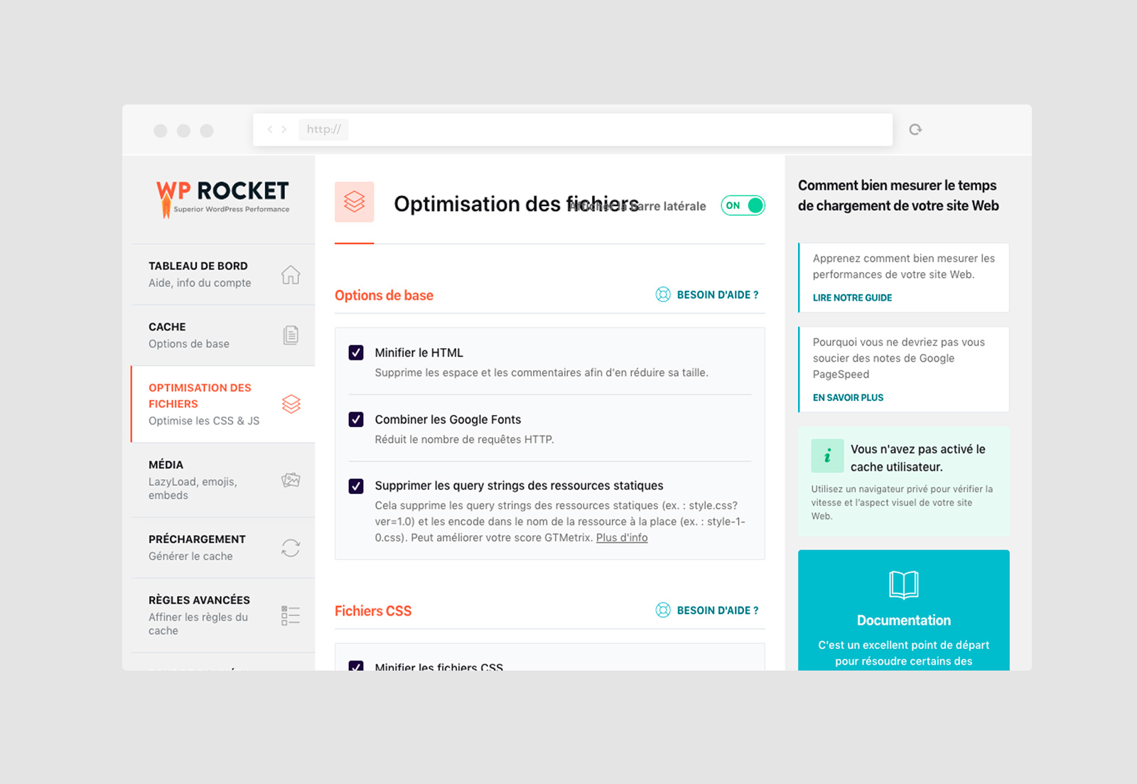 interface d'administration du plugin de gestion de cache WP Rocket